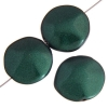 Glass Icy Coin 20mm Green Metallic